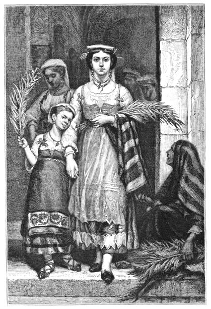 women carrying palm leaf branches on palm sunday - 19th century - palm sunday stock illustrations, clip art, cartoons, & icons