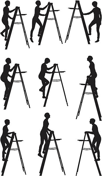 illustrazioni stock, clip art, cartoni animati e icone di tendenza di donna arrampicata su una scaletta - balance graphics