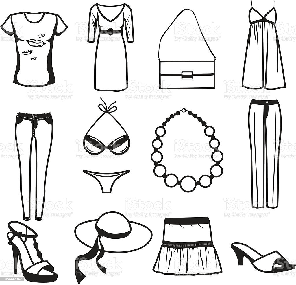 Women clothes and accessories summer icon set vector art illustration