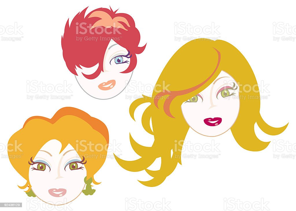 women faces with red hair vector royalty-free stock vector art