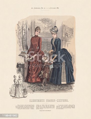 Women fashion. Hand-colored wood engraving, published in 1887.