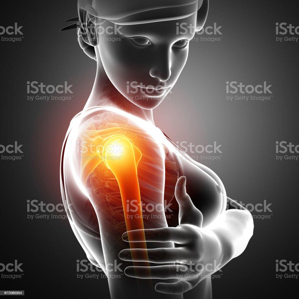 Women Feeling the Shoulder Pain vector art illustration