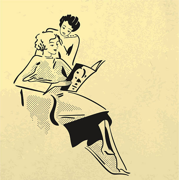 women in hairdressing salon - 1940s style stock illustrations