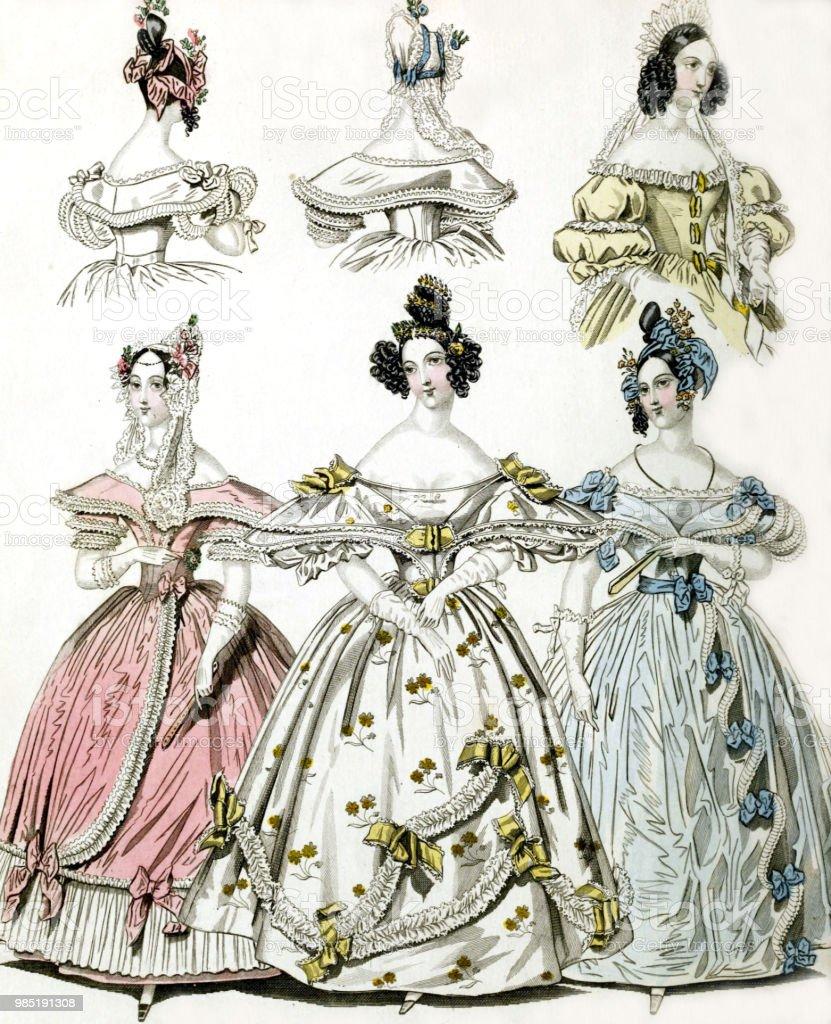 Women In Vintage Dresses Stock Illustration - Download Image