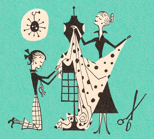 illustrazioni stock, clip art, cartoni animati e icone di tendenza di donne che abito - tailor working
