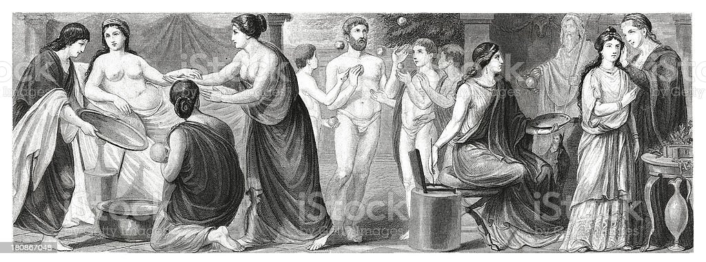 Women of ancient Rome (antique wood engraving) royalty-free women of ancient rome stock vector art & more images of 19th century