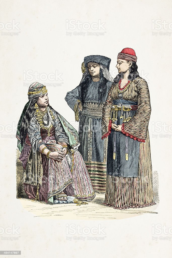 Women of Damascus in traditional clothing 1870 vector art illustration