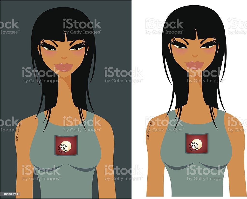 As mulheres da World Series/menina asiática - ilustração de arte em vetor
