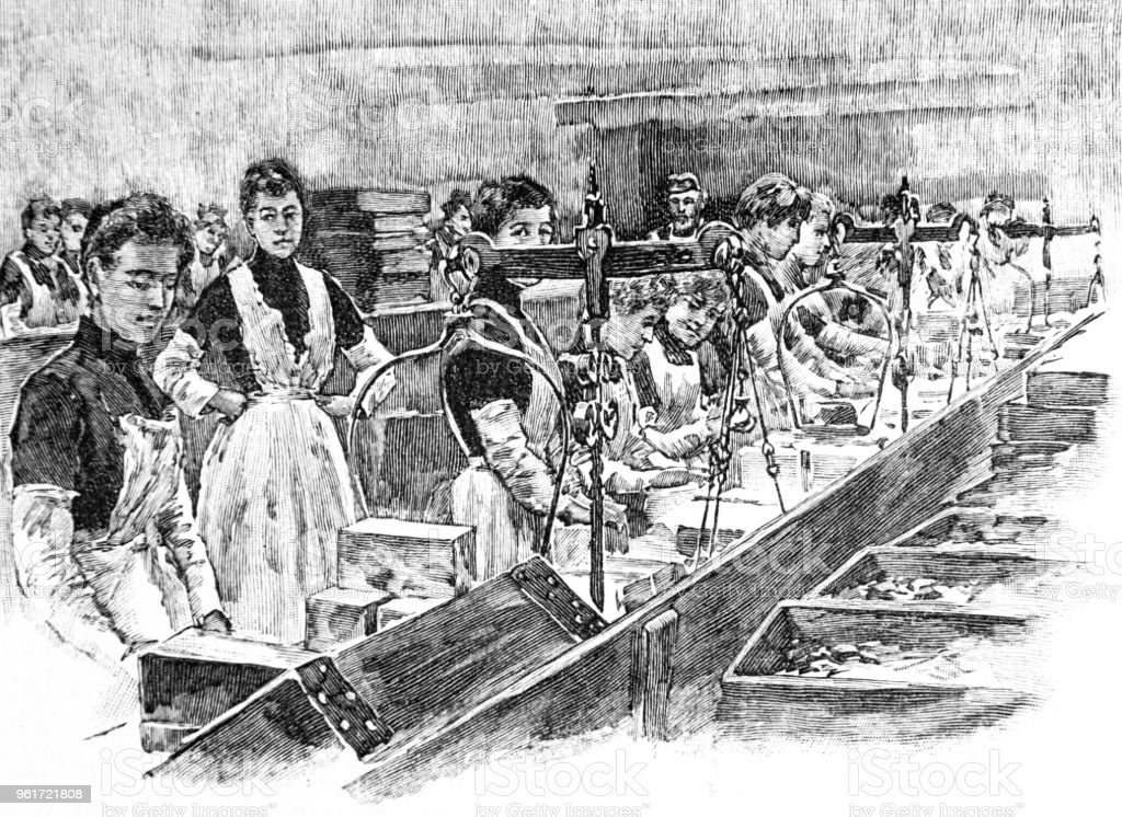 Women on production line - Biscuit Town 'Reading, UK' vector art illustration