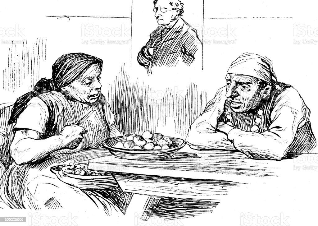 Women peeling raw potatoes sitting on table having talks with her man vector art illustration
