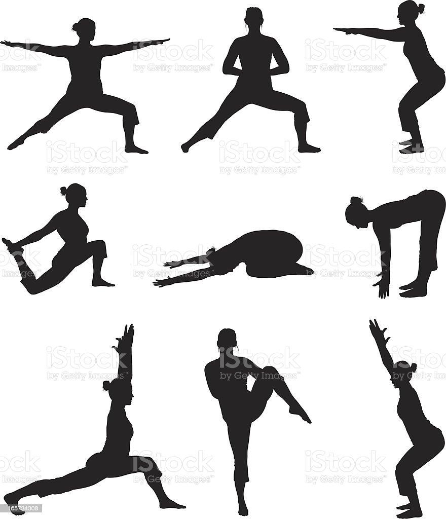 Women practicing yoga royalty-free stock vector art