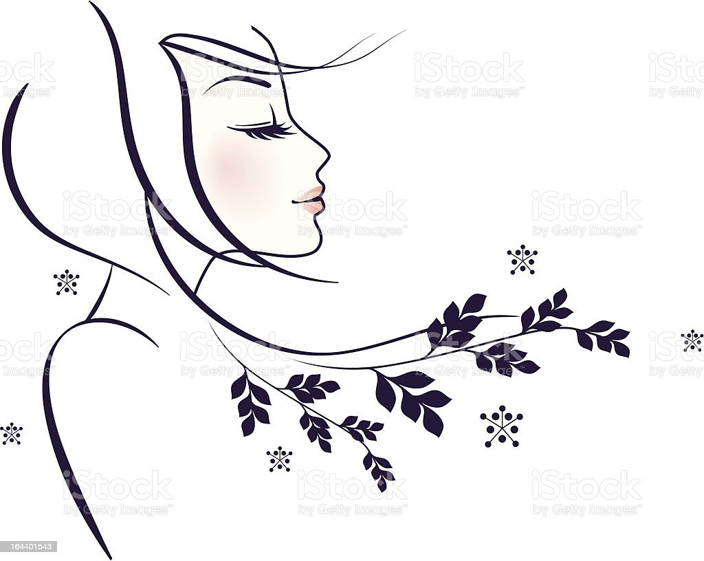Women profile with floral vector art illustration