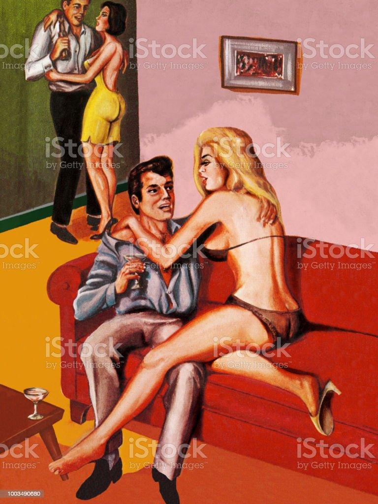 Women Seducing Men vector art illustration