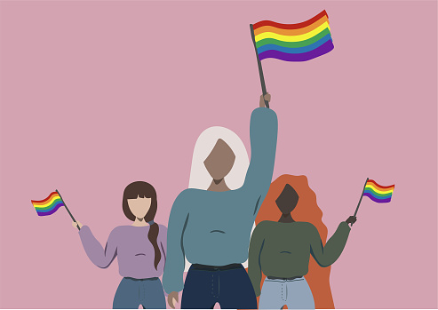 Women supporting the LGBTQ pride