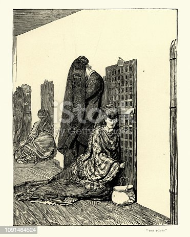 Vintage engraving of Women visiting the prison cells, The Tomb, 1870s.  By Arthur Boyd Houghton