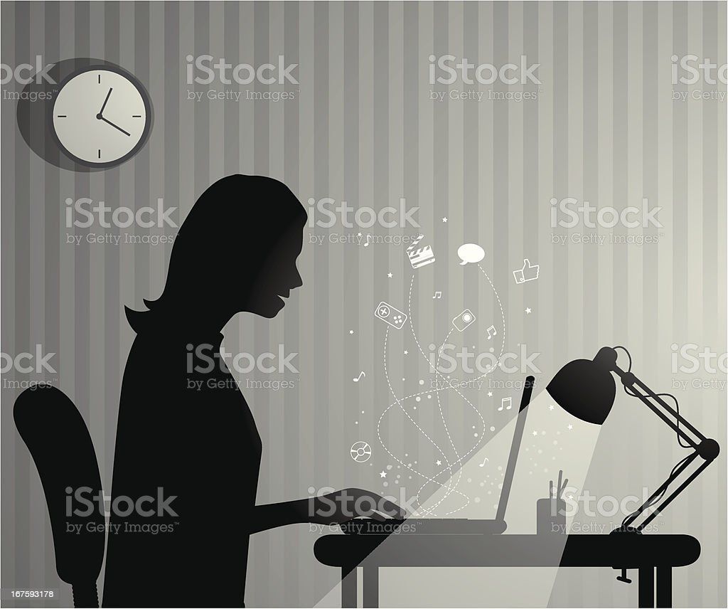 Women working late with her computer vector art illustration