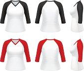 Vector illustration of classic 3/4 sleeve V-neck raglan t-shirt for women.