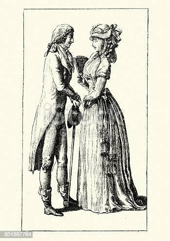 Vintage engraving of Womens and mens fashions of late 18th Century France. 1796