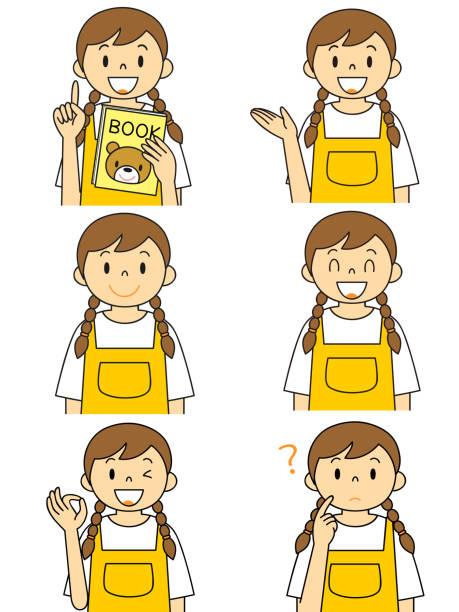 ilustrações de stock, clip art, desenhos animados e ícones de women's apron gesture illustration set - mulher deixar ir