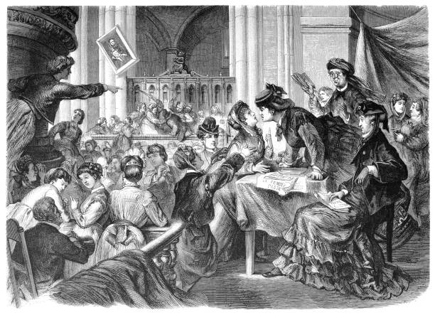 A women's club in the church of Batignolles in Paris Illustration of a women's club in the church of Batignolles in Paris of a women's suffrage stock illustrations