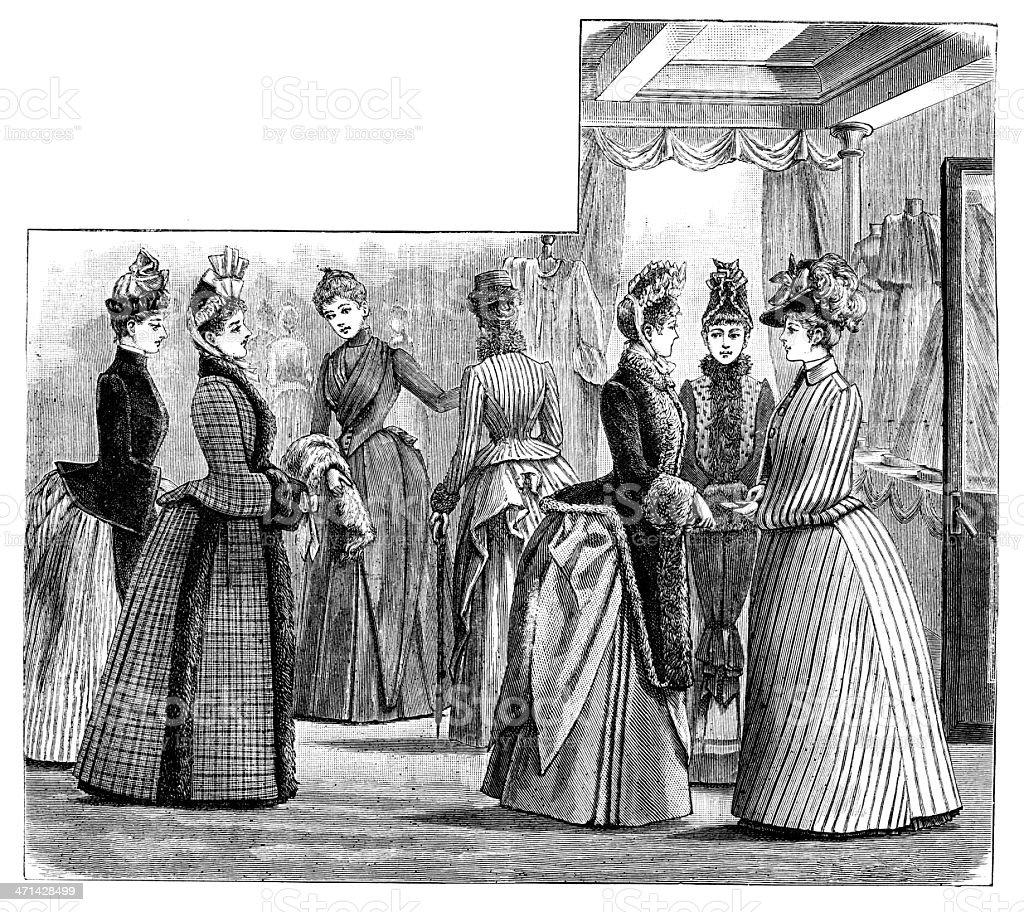 Womens fashion interior scene from 1883 journal vector art illustration