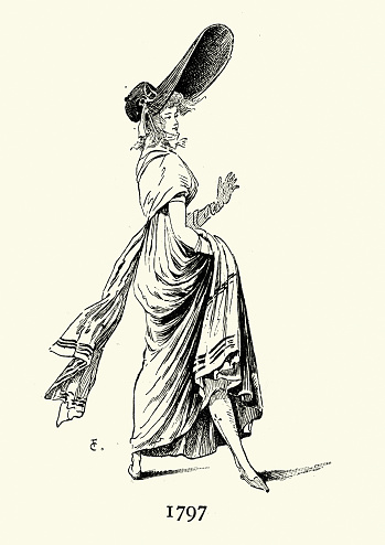 Vintage illustration of Womens fashion of French Directory, large brimmed bonnet, 18th Century