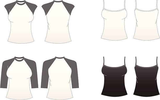 """Women's Fitted T-shirt Templates-Series 3 """"Women's spaghetti-strap, cap-sleeve and baseball t-shirts featuring front and back."""" spaghetti straps stock illustrations"""
