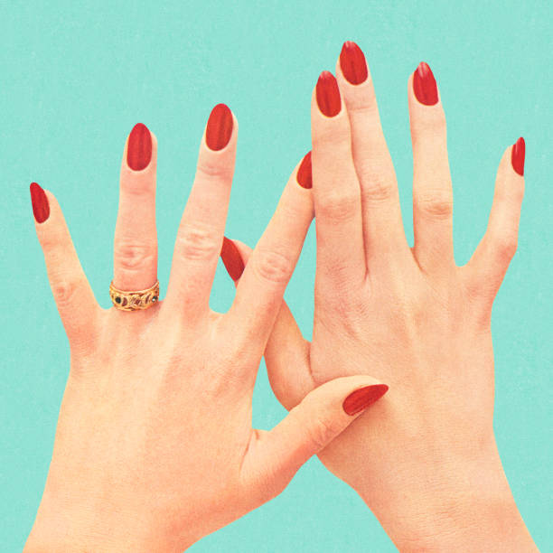 Women's Hands With Red Polish Women's Hands With Red Polish kitsch stock illustrations