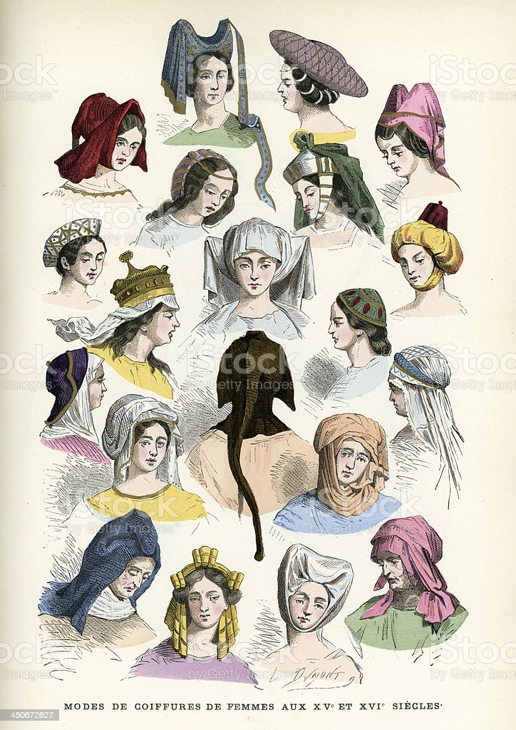 Womens Headwear 15th and 16th Century vector art illustration