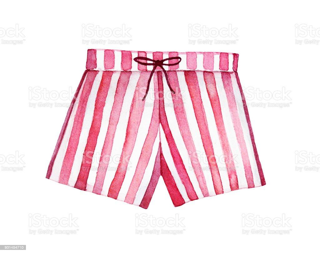 Mujeres Pijama Shorts Acuarela Ilustración - Arte vectorial de stock ...