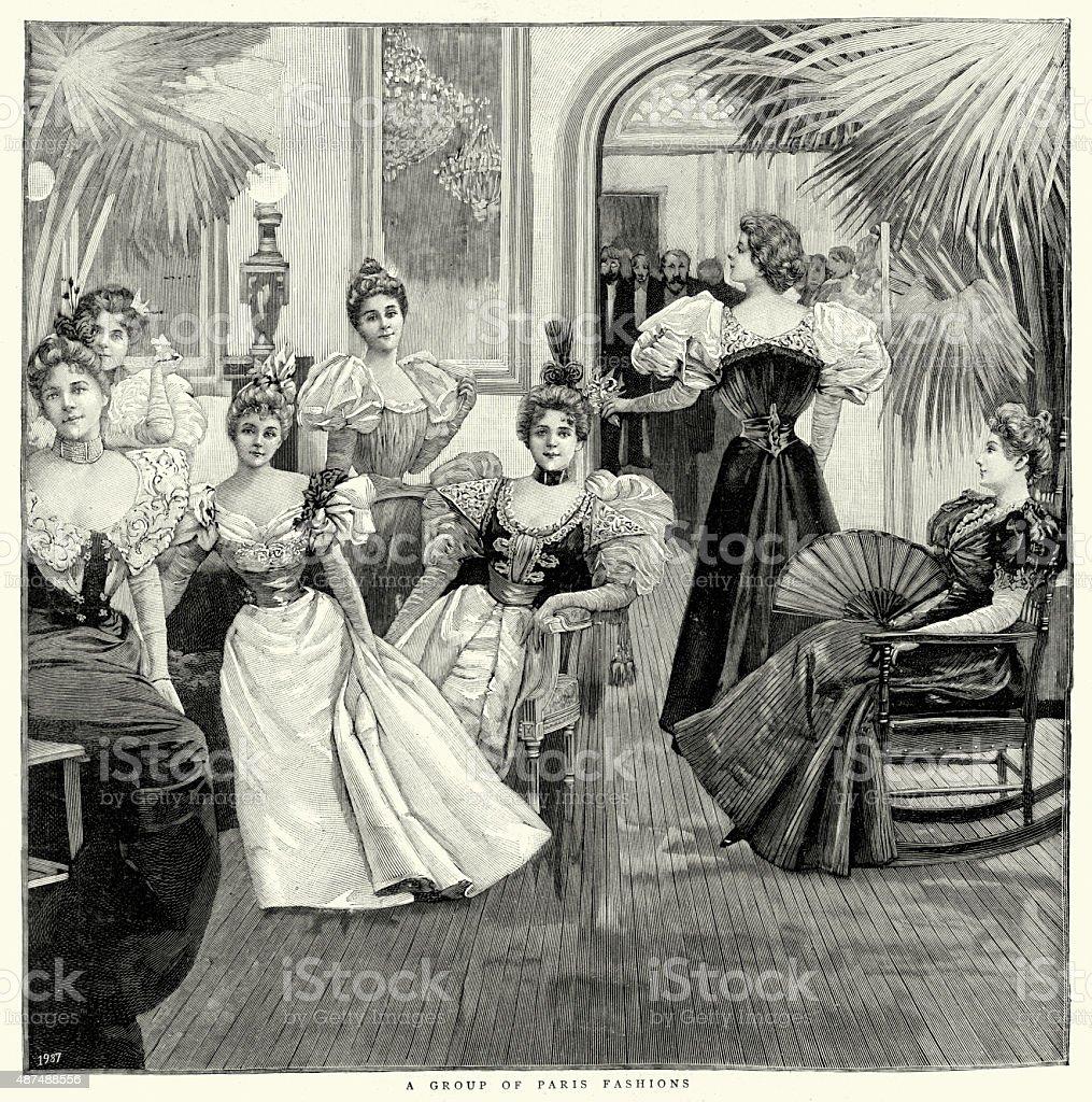 Womens Paris Fashions of 1897 - Illustration .