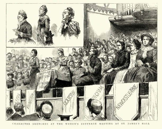 Women's suffrage meeting at St James's Hall, 1884, 19th Century Vintage engraving of sketches from the Women's suffrage meeting at St James's Hall, 1884, 19th Century women's suffrage stock illustrations