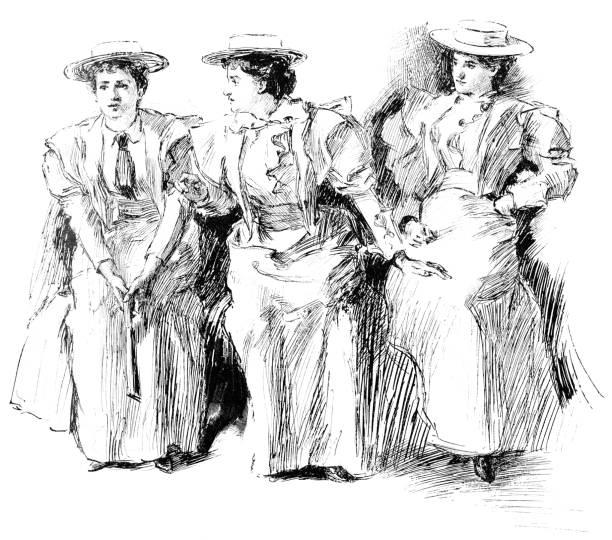 stockillustraties, clipart, cartoons en iconen met vrouwen suffragisten in new york city, new york, verenigde staten-19e eeuw - alleen vrouwen
