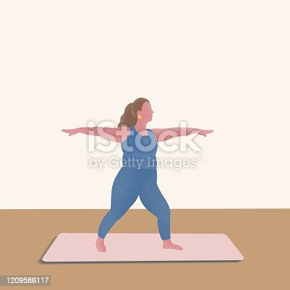 istock A women's yoga illustration 1209586117