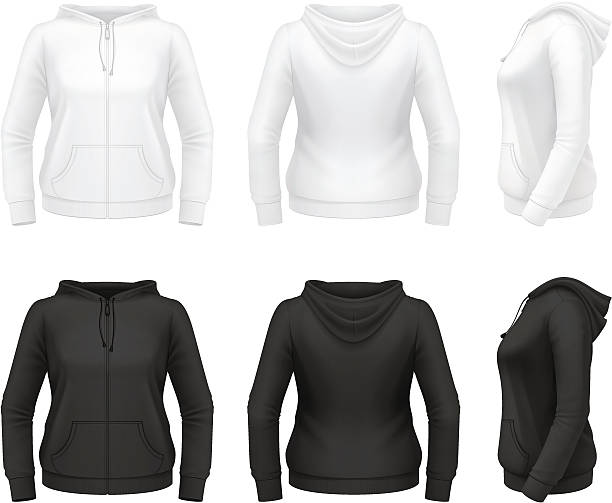 Women's zip hoodie with pockets vector art illustration