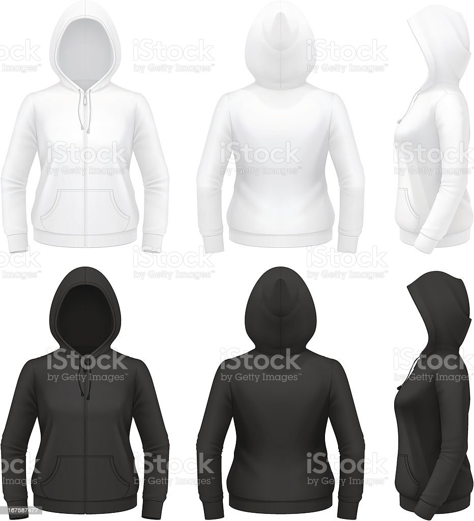 Women's zip hoodie with pockets royalty-free womens zip hoodie with pockets stock vector art & more images of back