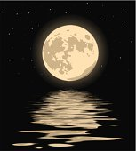 Vector illustration of a beautiful moon over the water.