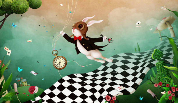 illustrazioni stock, clip art, cartoni animati e icone di tendenza di wonderland background - personaggio fantastico
