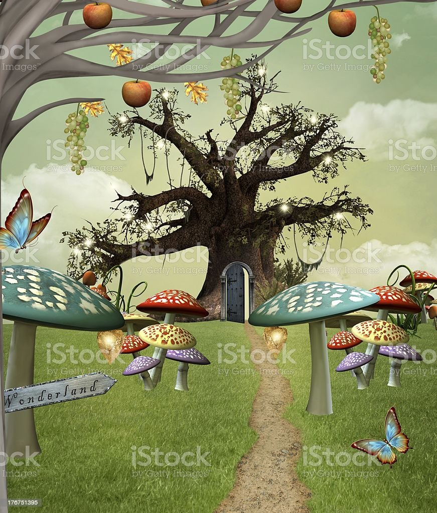 Wonderland footpath vector art illustration