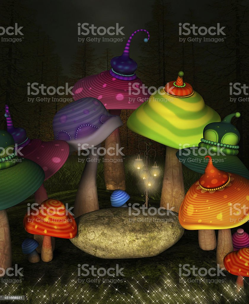 Wonderland series - secret mushrooms place vector art illustration