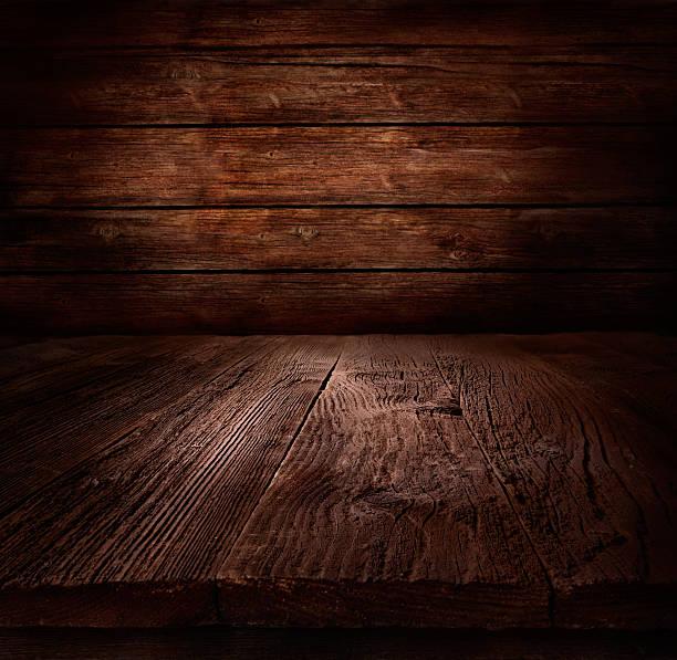 illustrazioni stock, clip art, cartoni animati e icone di tendenza di sfondo di legno-tavolo con parete in legno - tavolo legno