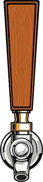 wood beer tap beer tap with a wood style handle with copyspace handle stock illustrations