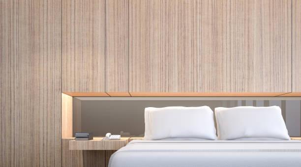 illustrations, cliparts, dessins animés et icônes de coffret bois avec coussins blancs dans la chambre, rendu 3d - architecture intérieure beton