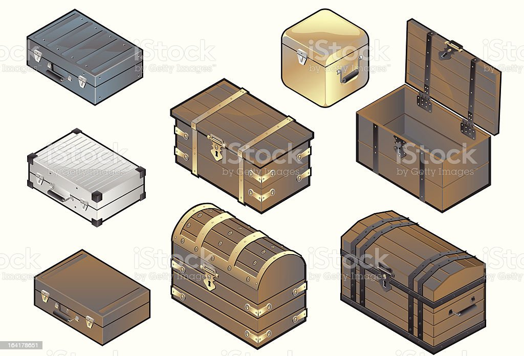 Wood cases, truck  and luggage vector art illustration