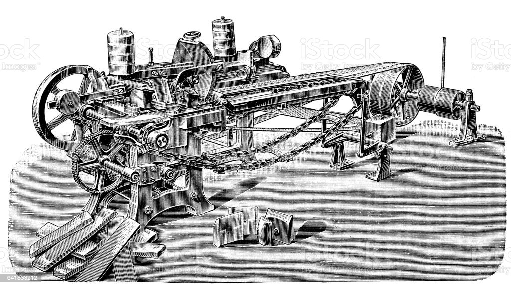 Wood proccesing machine vector art illustration