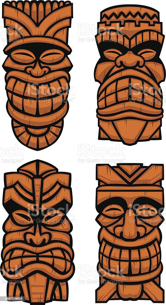 Wooden Tiki Head Drawing Wood Tikis Stock Vecto...