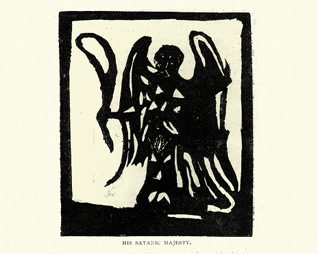Woodcut engraving of His satanic majesty, The Devil, 18th Century