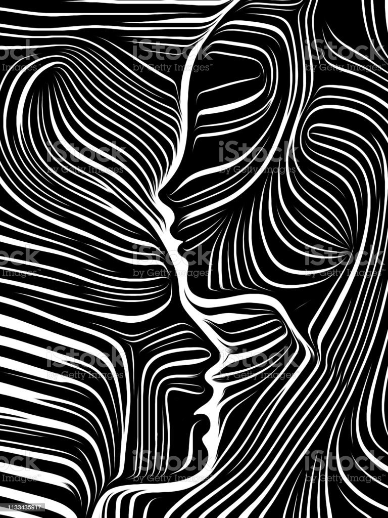 Woodcut Face. vector art illustration