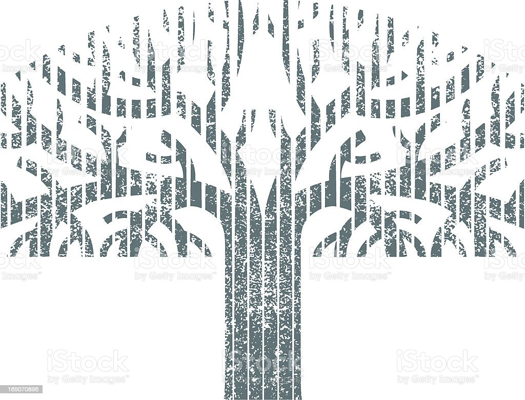 Woodcut grunge tree royalty-free stock vector art