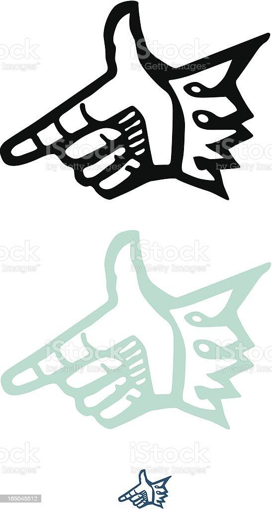 Woodcut hand royalty-free stock vector art